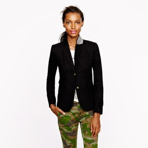 jcrew camo pants with blazer
